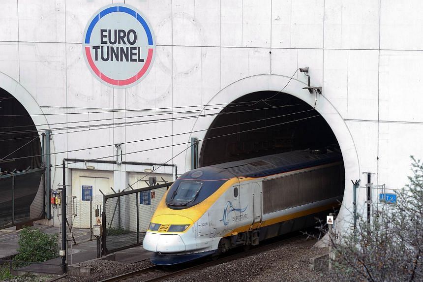 A Eurostar train coming out of the Channel Tunnel.