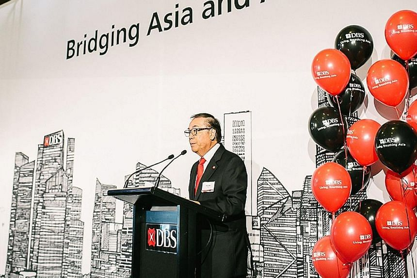 DBS chairman Peter Seah addressing about 150 guests at a client luncheon in Sydney to officially launch DBS' new Australian branch.