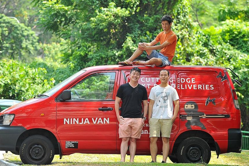 Ninja Van's co-founders Boxian Tan (on top of the van), Lai Chang Wen (black T-shirt) and Shaun Chong. They say their algorithm is so efficient they use one-third the manpower of other delivery systems, allowing them to drive down their prices while