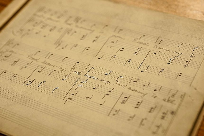 Sheet music for the song Good Morning To All seen in a photo provided by the University of Louisville. The melody is now sung with the familiar tribute, Happy Birthday To You.