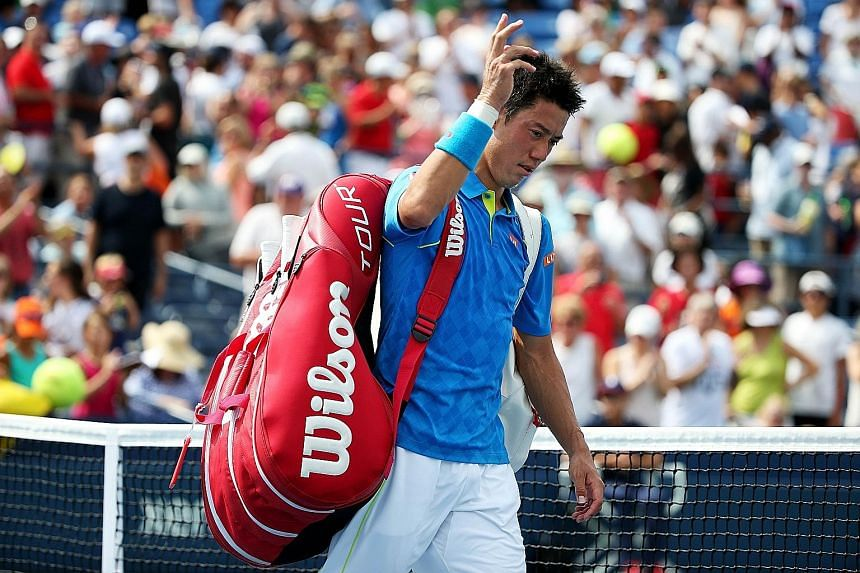 Kei Nishikori, walking off the court after losing against Benoit Paire in the US Open. The Japanese star squandered two match points to lose 4-6, 6-3, 6-4, 6-7 (6-8), 4-6.