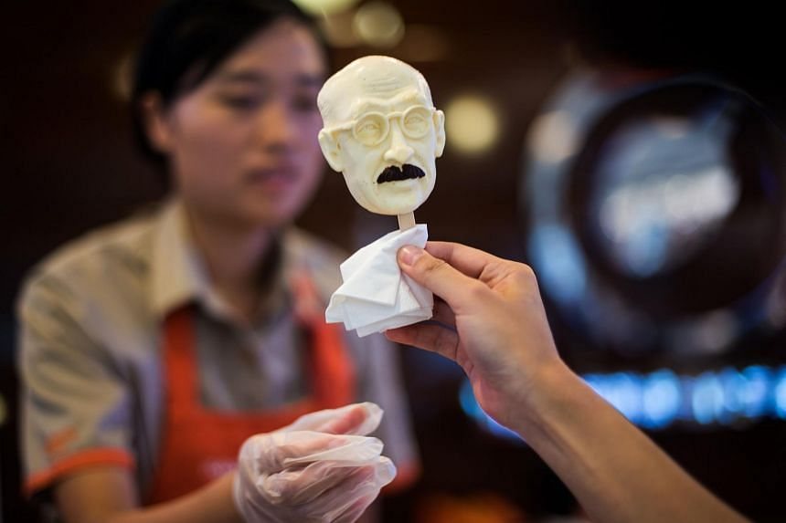 The ice cream in Tojo's likeness comes complete with glasses and a moustache.