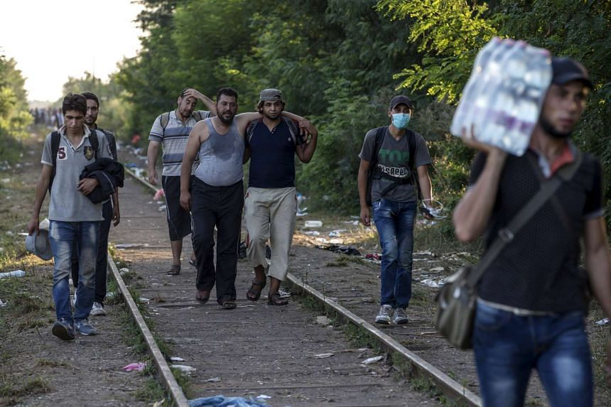 Migrants hoping to cross into Hungary, walking along a railway track near the village of Horgos in Serbia, towards the border it shares with Hungary on Sept 1, 2015.