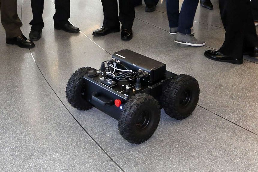 The Human Robot Interaction System (HURISS), one of the SAF projects that was on display at the MINDEF PRIDE Day 2015 at Singapore University of Technology and Design on Sept 2, 2015.