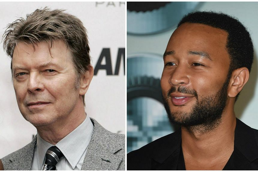 David Bowie (left) and John Legend are among the musicians who will be composing a score for SpongeBob The Musical.