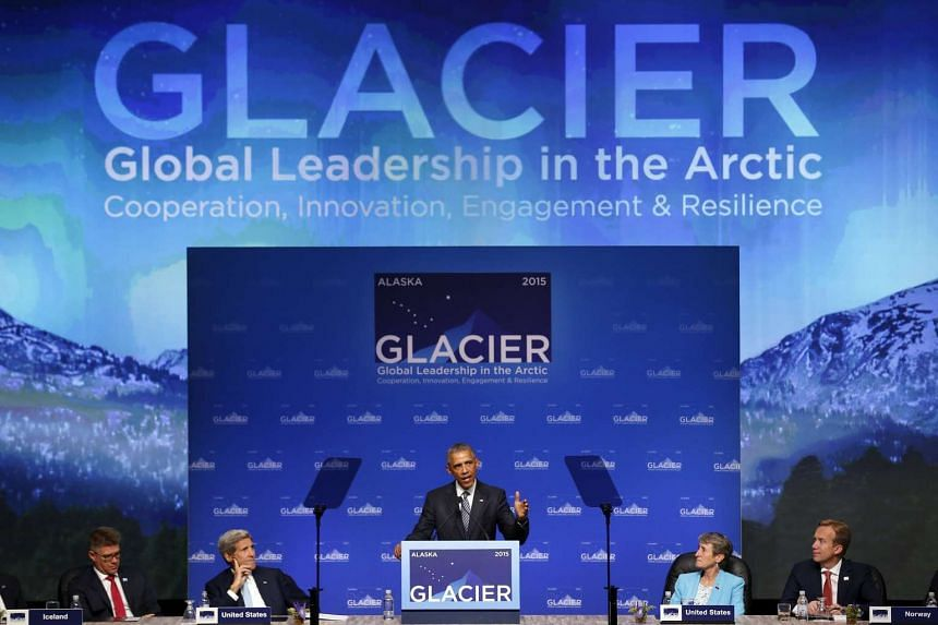 US President Barack Obama delivers remarks to the GLACIER Conference at the Dena'ina Civic and Convention Center in Anchorage, Alaska.