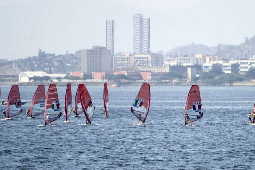Women RSX (windsurfers) compete in the International Sailing Regatta held in the Guanabara Bay in Rio de Janeiro, Brazil on August 192015, an event that serves as a test for the Rio 2016 Olympic Games.