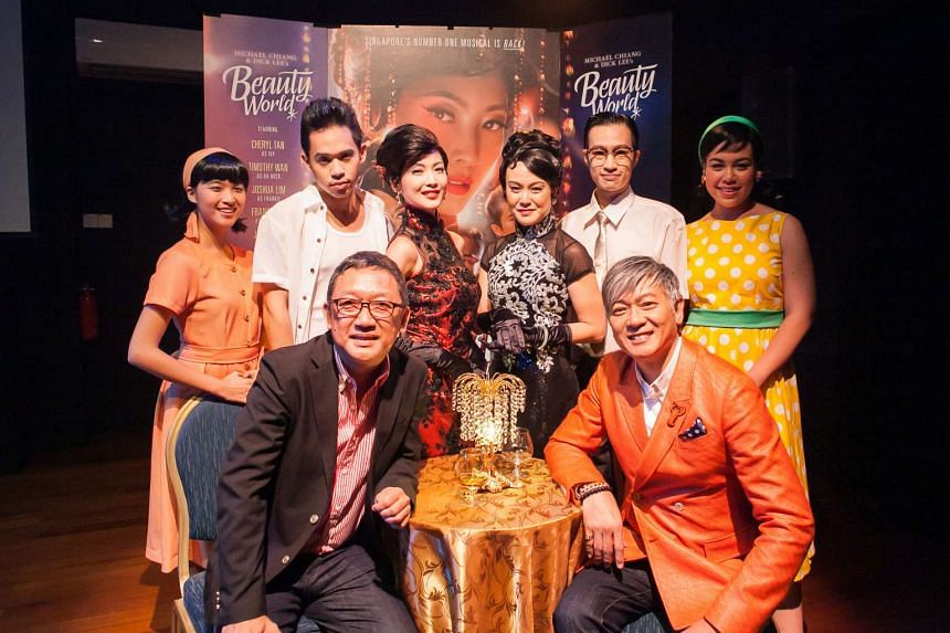 Cast and creatives behind the 2015 revival of the musical Beauty World: (front row, from left), Michael Chiang (playwright) and Dick Lee (composer); (back row from left) Cheryl Tan, Timothy Wan, Jeanette Aw Janice Koh Joshua Lim and Frances Lee.