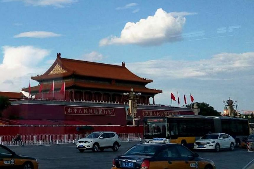 A clear, sunny sky above the Tiananmen Tower in Beijing last week is the result of measures to reduce pollution ahead of tomorrow's large-scale parade.