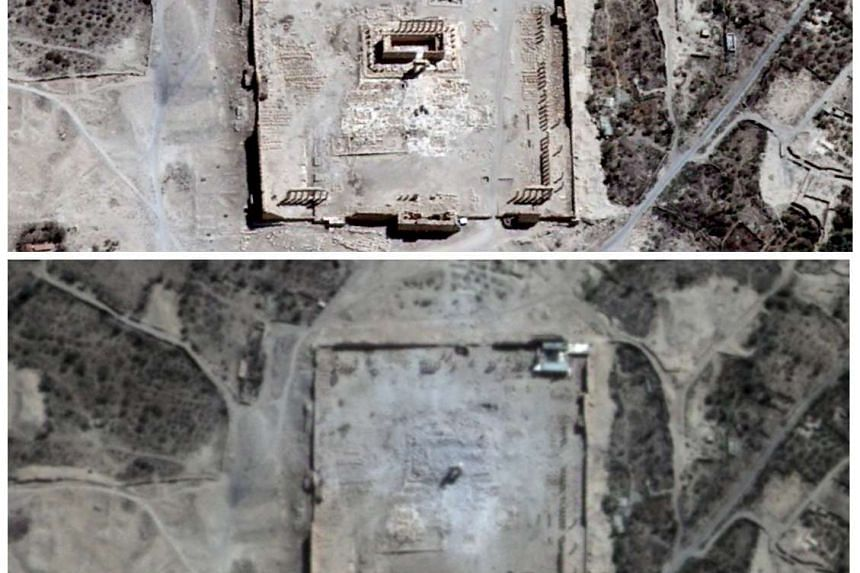 Satellite images showing the site of the Temple of Baal taken last Thursday (top) and on Monday (above). The temple was built between 32BC and the second century.
