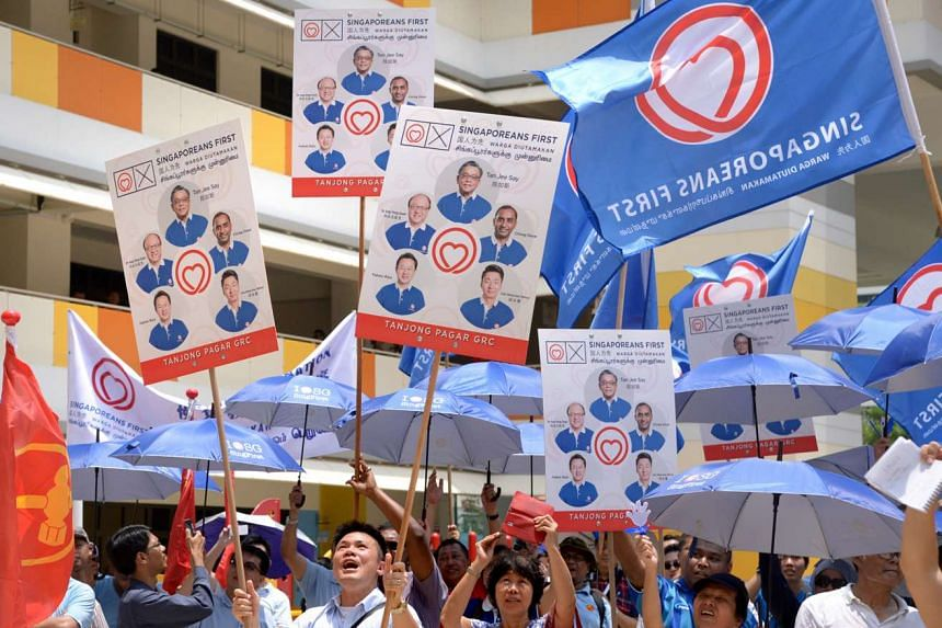 SingFirst supporters at Bendemeer Primary School yesterday. The party's team will contest Tanjong Pagar GRC.