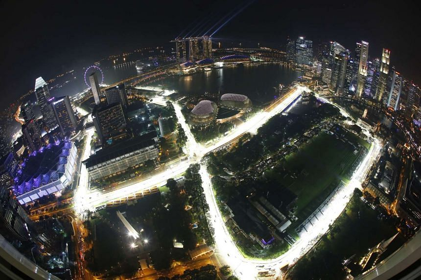Lighting up of Marina Bay Street Circuit for the 2014 Formula One Singapore Airlines Singapore Grand Prix as seen at night from Swissotel The Stamford on Sept 11, 2014.