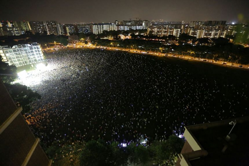 The crowd at the WP rally at Hougang Central on Sept 2, 2015.