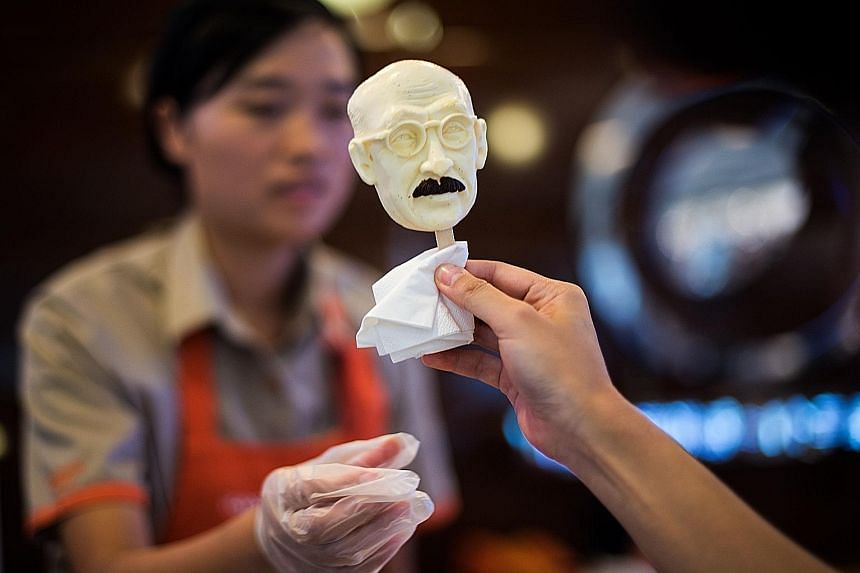 Shanghai ice cream chain Iceason is offering ice cream bars on a stick with the image of executed Japanese war criminal Hideki Tojo, who was a former Japanese army general and prime minister. The ice cream had few takers even during lunch hour.