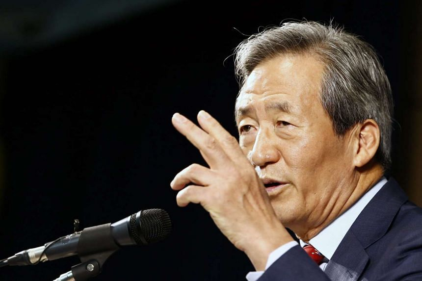 South Korean Fifa presidential candidate Chung Mong Joon speaking at a press conference in Seoul on Sept 3.