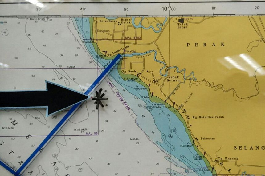 A mark on a map showing the location where a boat filled with migrants capsized off Sabak Bernam in Selangor on Sept 3, 2015.