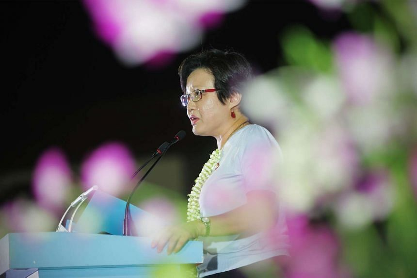 AHPETC and WP chairman Sylvia Lim speaking at the party's rally last night. She said the town council is not in financial difficulties and is more than capable of fulfilling residents' needs.