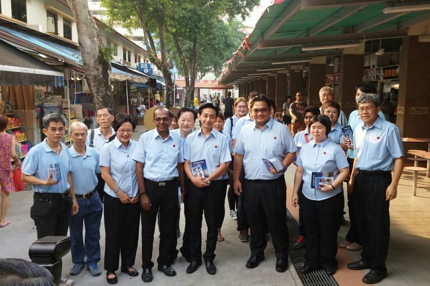 WP Jalan Besar team preparing to do walkabout at Blk 90 Whampoa Drive market on Sept 3, 2015.