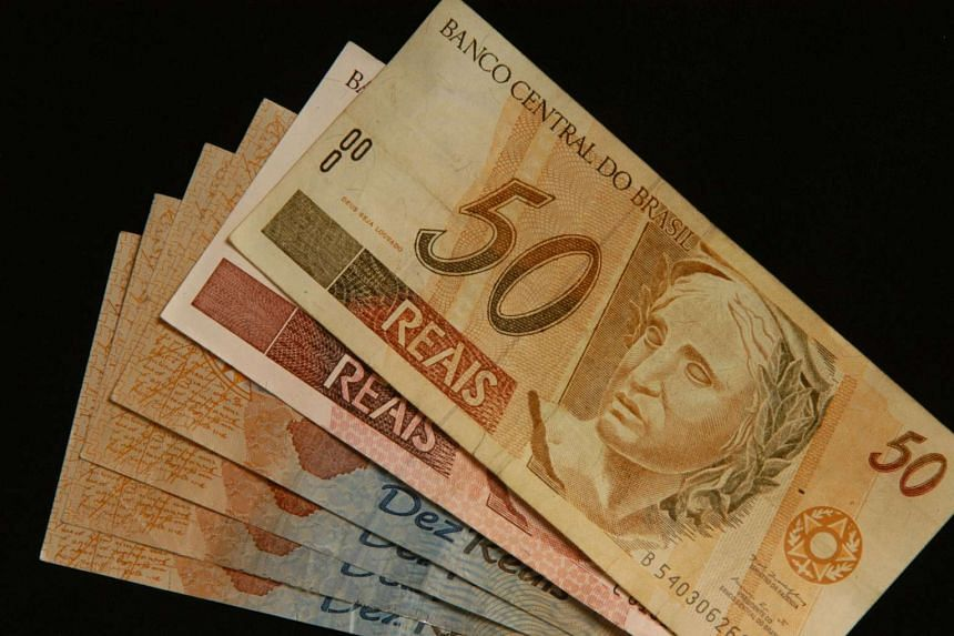 This is an arrangement of Brazilian currency, the Real, Feb 28, 2005 in Buenos Aires, Argentina.