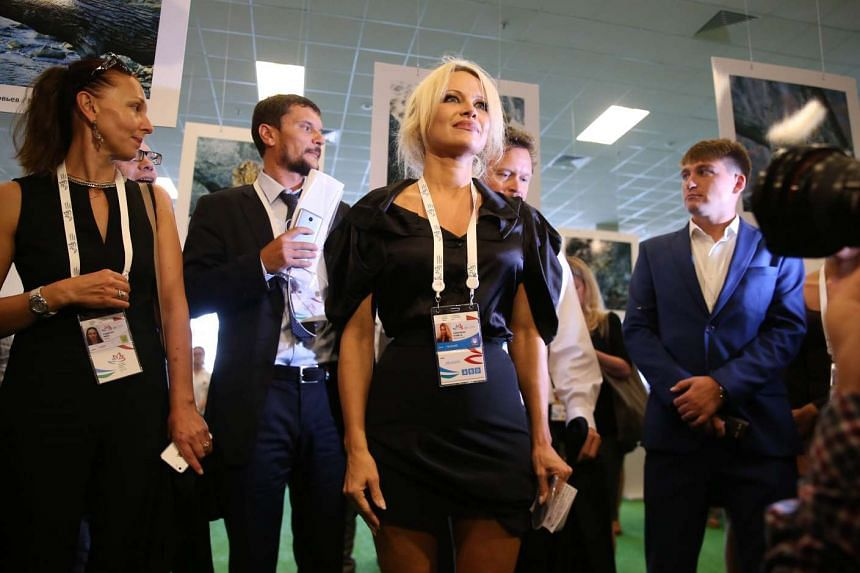 US-Canadian actress and animal rights activist Pamela Anderson visits the Russia's first ever Eastern Economic Forum in Vladivostok on Sept 3, 2015.