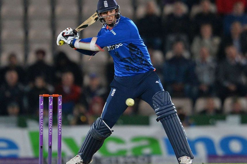 England's Steve Finn plays a shot during the first one day international cricket match between England and Australia at The Ageas Bowl cricket ground in Southampton, southern England, on Sept 3, 2015.