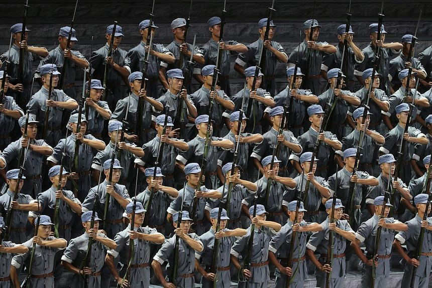 Entertainers perform during the gala marking the 70th Anniversary of the Victory of Chinese People's Resistance against Japanese Aggression and World Anti-Fascist War at the Great Hall of the People in Beijing, China, on Sept 3, 2015.
