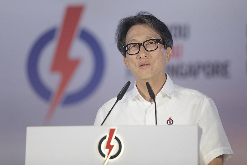 PAP's East Coast GRC candidate Mr Lim Swee Say speaking during an election rally at Bedok Stadium on Sept 3, 2015.
