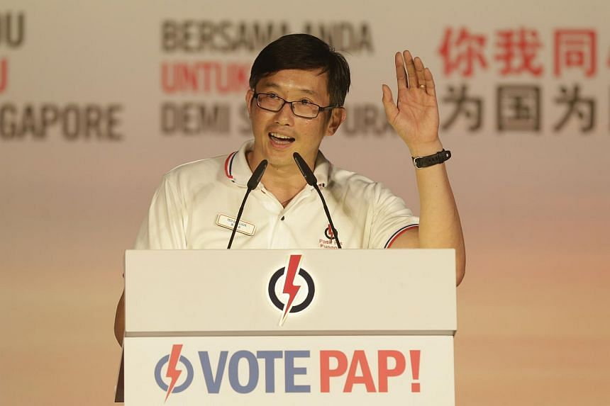 PAP's Teo Ser Luck speaking during an election rally on Sept 3, 2015.