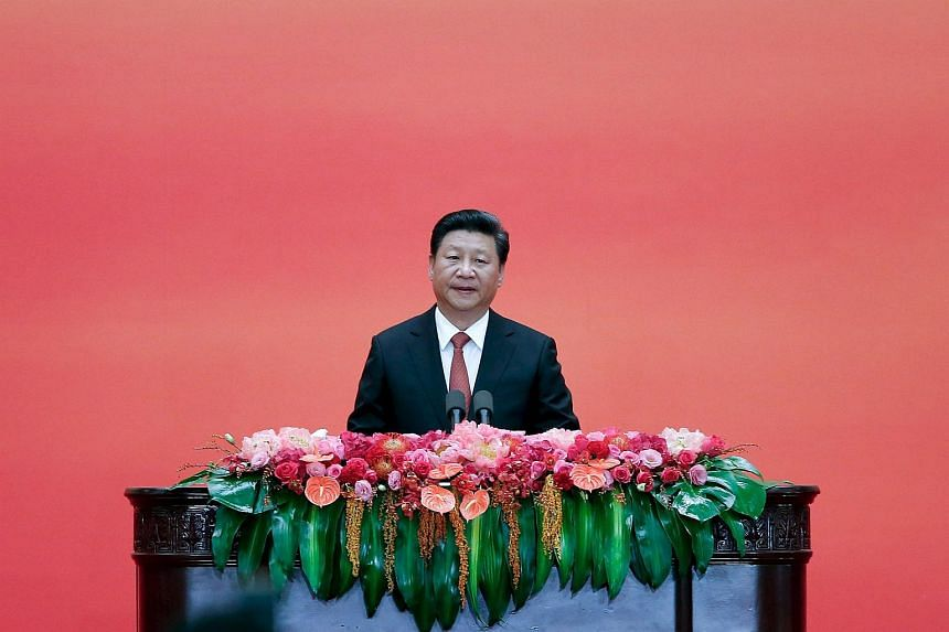 Chinese President Xi Jinping speaking during a reception commemorating the 70th anniversary of the end of World War Two, at the Great Hall Of The People in Beijing on Sept 3, 2015.