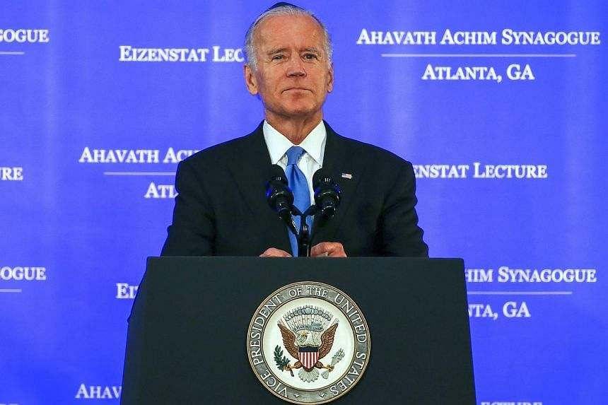 US Vice President Joe Biden pausing after being asked if he was going to enter the 2016 presidential race after speaking at the Ahavath Achim Synagogue in Atlanta, Georgia, USA on Sept 3, 2015.