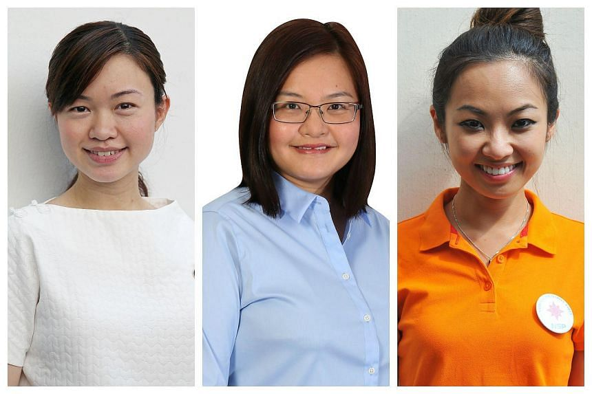 Election candidates (from left) Tin Pei Ling, Lee Li Lian and Kevryn Lim say motherhood is a motivation rather than a stumbling block to their work.