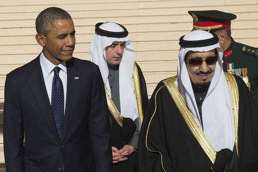 US President Barack Obama with Saudi Arabia's King Salman (right) in Riyadh in January, just days after he succeeded to the throne. Ties between the two countries have been strained by Saudi fears that Washington could be leaning towards Teheran or l