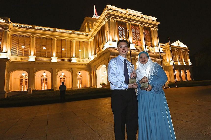 Dr Tay Lee Yong and Madam Halimah Jumaha were among the six teachers to receive the President's Award for Teachers yesterday.