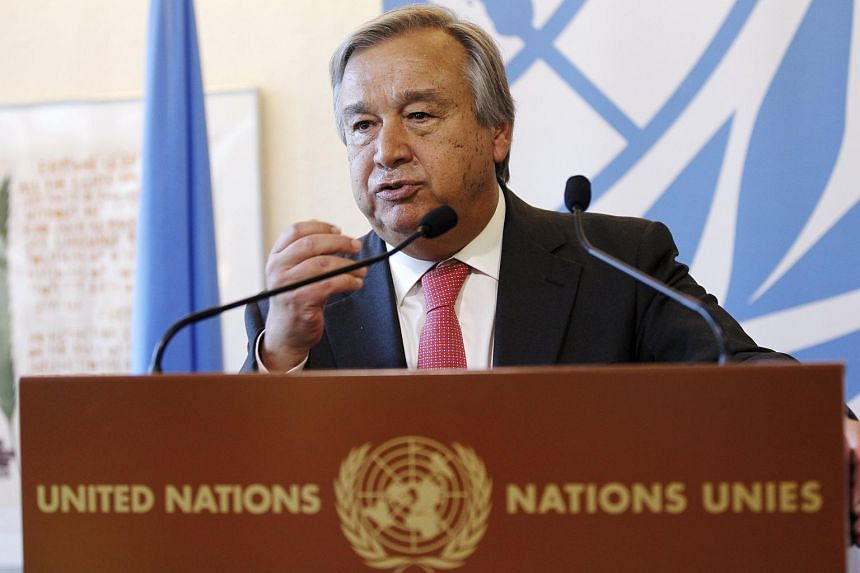 United Nations High Commissioner for Refugees Antonio Guterres speaks during a news conference on the subject of the refugee crisis in Europe, at the United Nations European headquarters in Geneva, Switzerland on Aug 26, 2015.