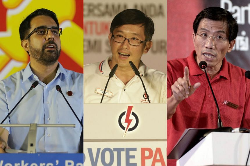 (From left) WP's Mr Pritam Singh, PAP's Mr Teo Ser Luck and SDP's Dr Chee Soon Juan all spoke multiple languages at their respective party rallies.
