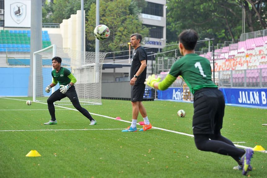 Guy Martens (centre), goalkeeper coach, at a training session for the Singapore U-15 team ahead of the Asian Football Confederation (AFC) Under-16 Championship qualifier against defending champions North Korea.