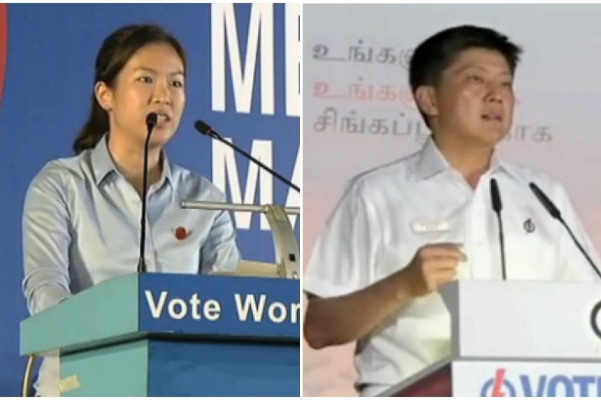Workers' Party's He Ting Ru (left) and PAP's Ng Chee Meng.