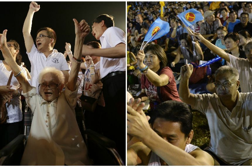 Left: Bedok resident Quek Jee Yee, 84, cheering along with Transport Minister Lui Tuck Yew (right, in photo) at the People's Action Party rally at Bedok Stadium yesterday. Right: Workers' Party supporters cheering at the Boon Keng rally yesterday.