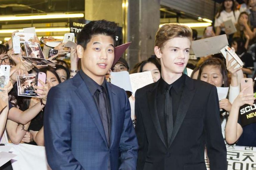 Lee Ki Hong (left) and Thomas Brodie-Sangster in Seoul, South Korea, for the promotion of Maze Runner: The Scorch Trials.