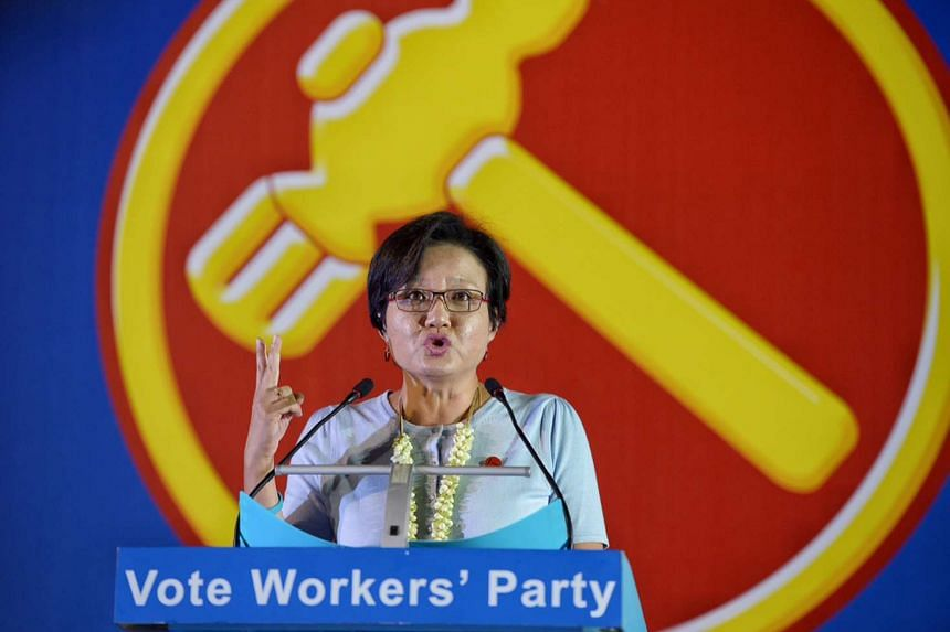 Workers' Party chairman Sylvia Lim speaking at a rally in Hougang on Sept 2.