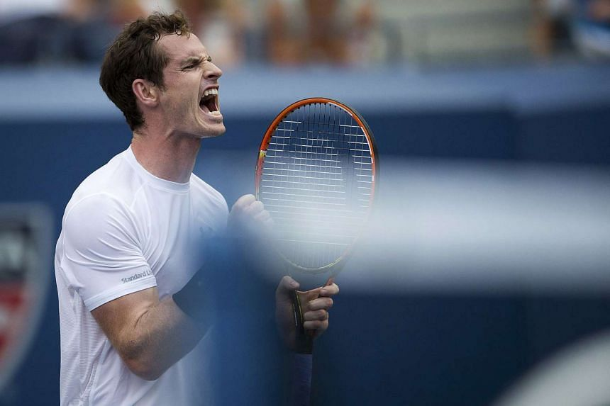 Andy Murray reacts after winning a point against Adrian Mannarino during their second round match at the US Open in New York on Sept 3, 2015.