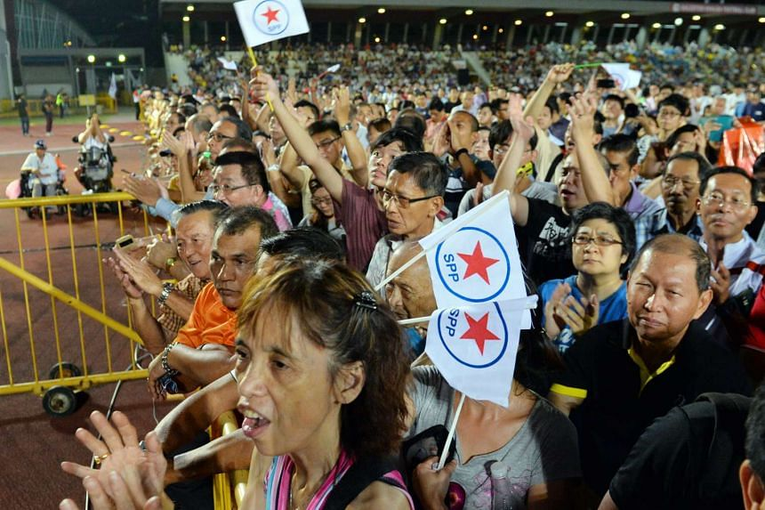 The crowd at the Singapore People's Party (SPP) rally for Bishan-Toa Payoh GRC on Sept 4 2015.