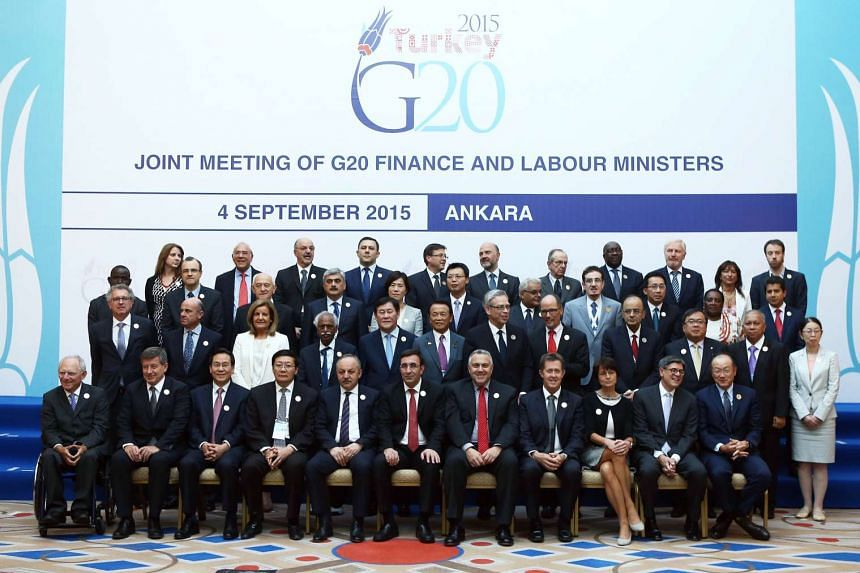 Finance ministers and central bank chiefs from the world's top 20 economies during the first of day of a two-day G20 meeting of finance ministers and central bank governors in Ankara on Sept 4, 2015.