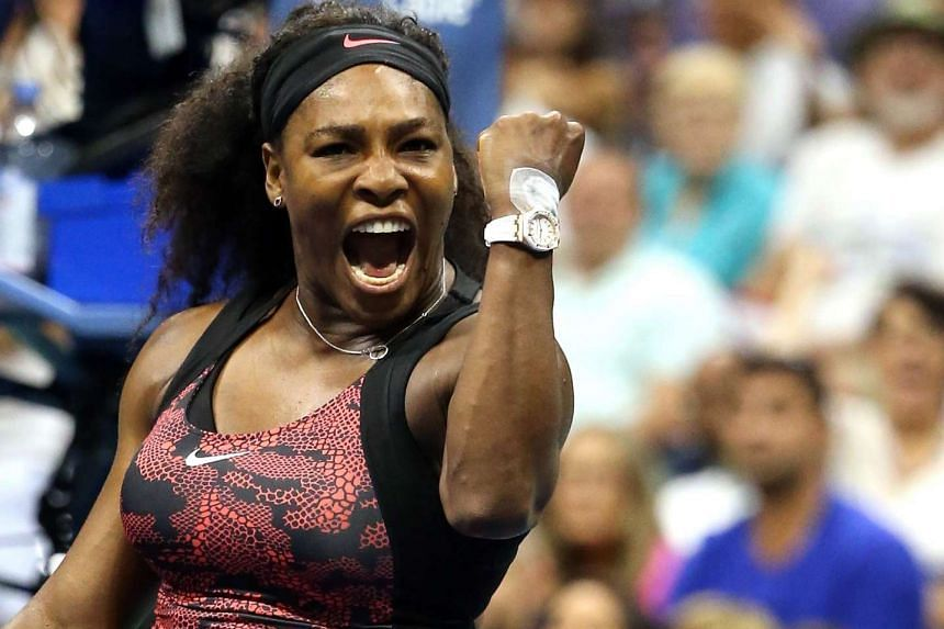 Serena Williams reacts after defeating Bethanie Mattek-Sands during their Women's Singles Third Round match at the 2015 US Open.