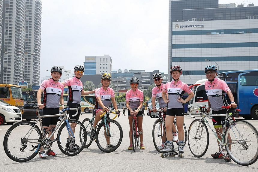 The Charity Bike 'n' Blade team includes (from left) event chairman Sidney Lim, co-chairman Albert Yeo and participants Peh Chong Eng, Dorothy Yeo, Clement Goh, Sarah-Cae Lim and Steven Lim.
