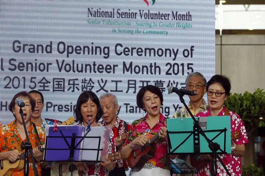 The Ukelele Activity Circle, made up of senior volunteers, performed at a ceremony to promote senior volunteerism.