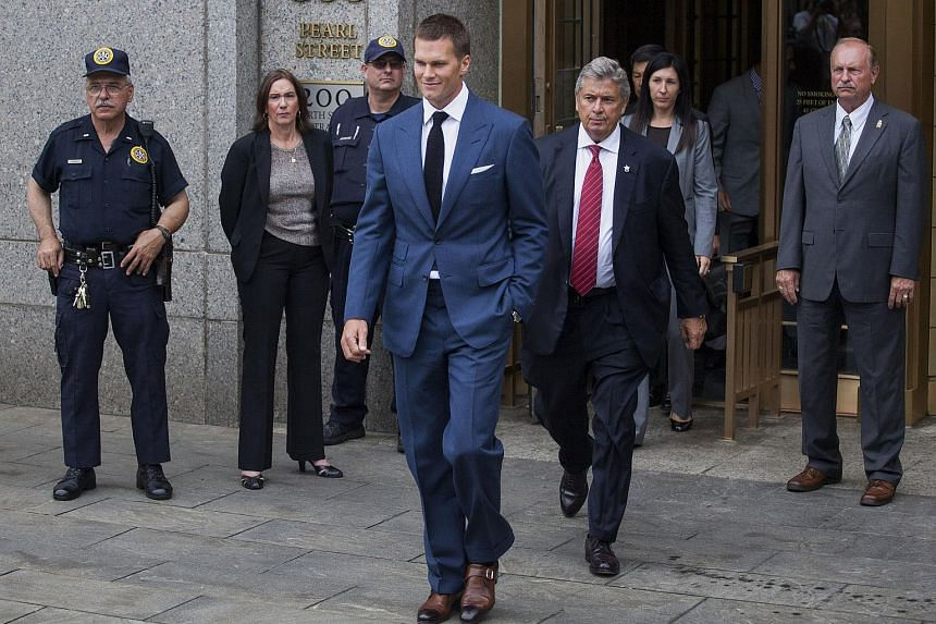 Tom Brady, quarterback for the New England Patriots of the National Football League (NFL) exits federal court on Aug 31, 2015.