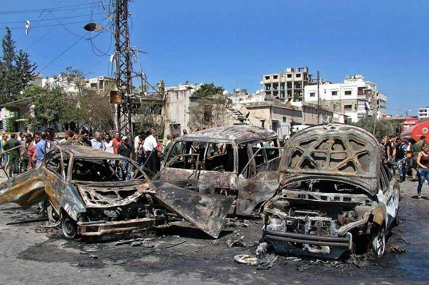 The site of a car bombing in Hamam Square on the outskirts of Latakia, Syria on Sept 2, 2015.