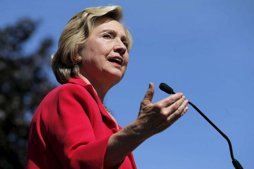 """United States Democratic presidential candidate Hillary Clinton speaks at a """"Women for Hillary"""" campaign rally in Portsmouth, New Hampshire, on Sept 5, 2015."""