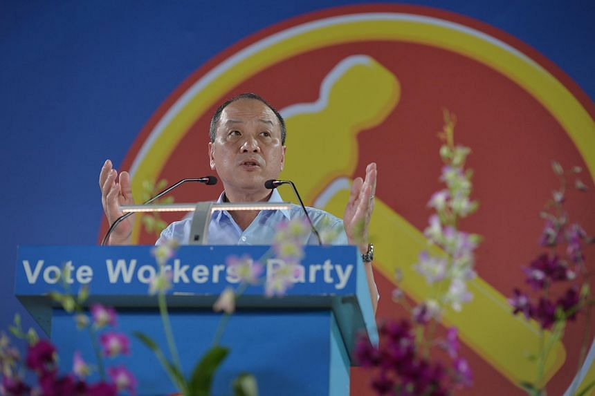 Workers' Party Secretary-General Low Thia Khiang giving his speech at the Workers' Party rally at Yishun stadium on Sept 4, 2015.